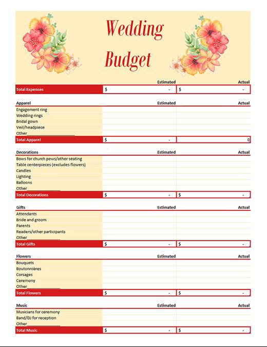 Wedding Budget Planner Version 2 | FreeTemplatesPro